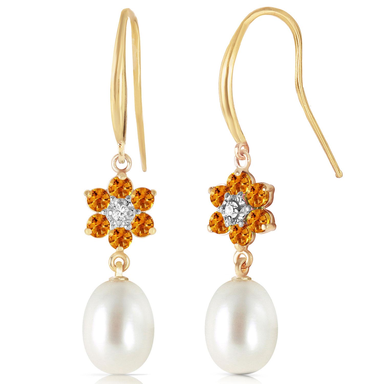 Pearl, Diamond & Citrine Daisy Chain Drop Earrings in 9ct Gold