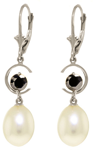 Pearl Drop Earrings 9 ctw in 9ct White Gold