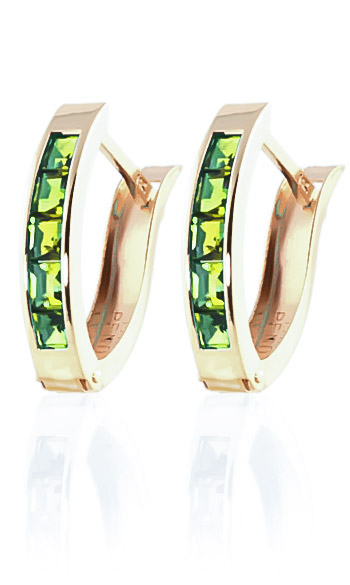 Peridot Acute Huggie Earrings 1 ctw in 9ct Gold