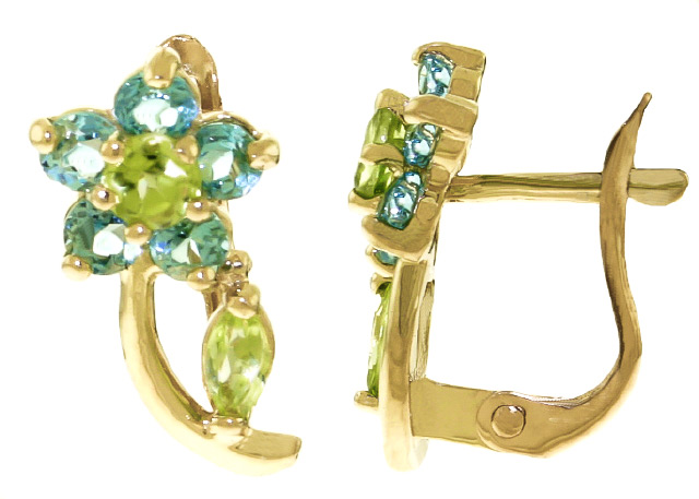 Peridot & Blue Topaz Flower Stud Earrings in 9ct Gold