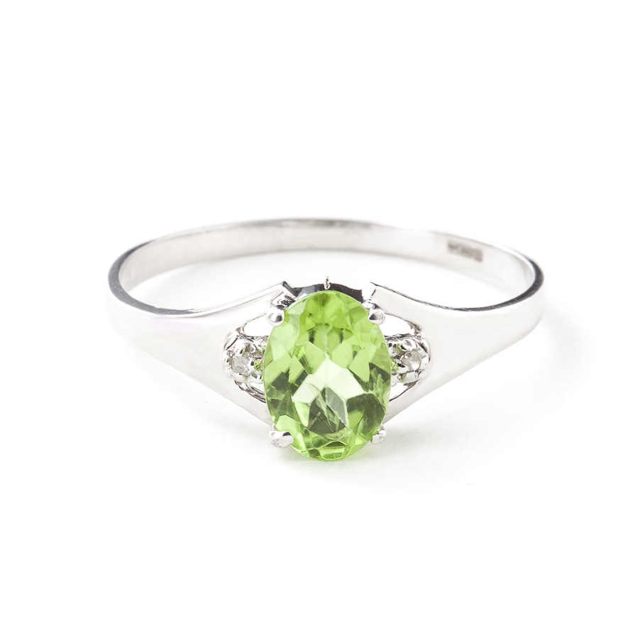 Peridot & Diamond Desire Ring in 9ct White Gold
