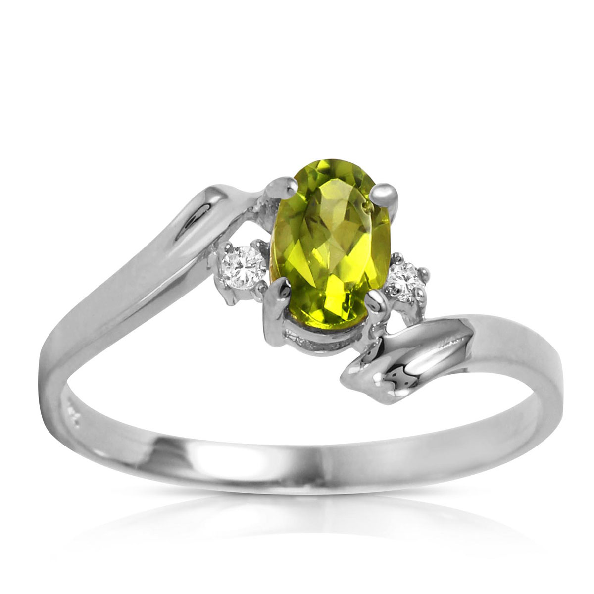 Peridot & Diamond Embrace Ring in 9ct White Gold