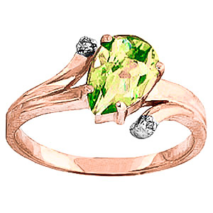 Peridot & Diamond Flank Ring in 18ct Rose Gold
