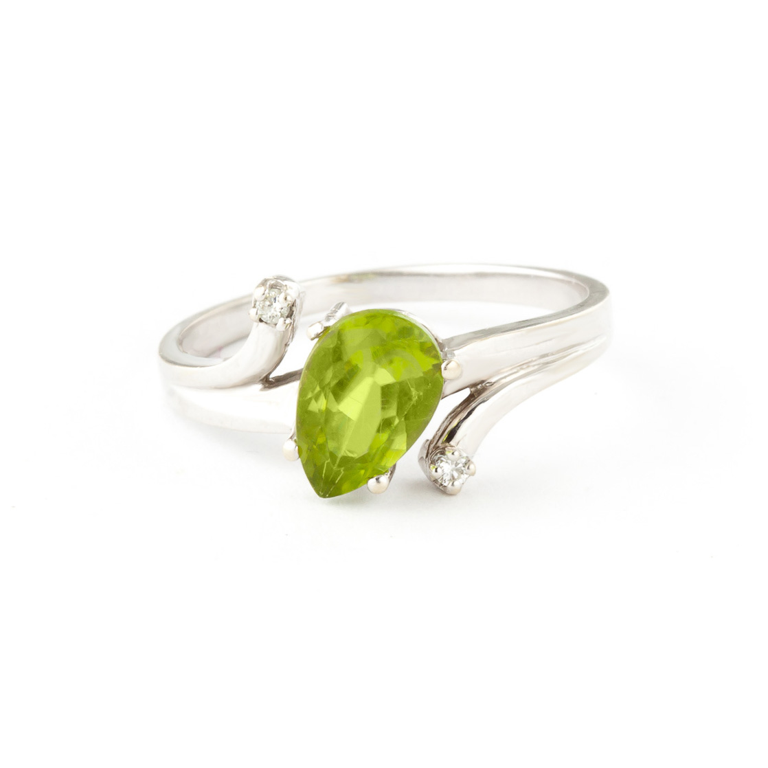 Peridot & Diamond Flank Ring in 18ct White Gold