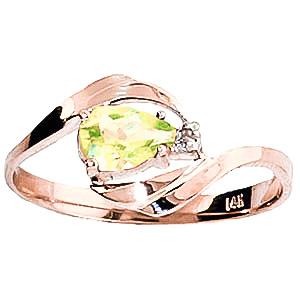 Peridot & Diamond Flare Ring in 18ct Rose Gold