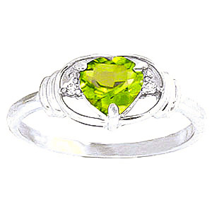 Peridot & Diamond Halo Heart Ring in 9ct White Gold