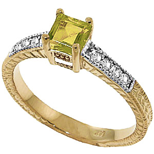 Peridot & Diamond Shoulder Set Ring in 18ct Gold
