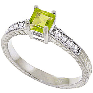 Peridot & Diamond Shoulder Set Ring in Sterling Silver