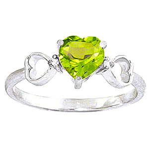 Peridot & Diamond Trinity Ring in 18ct White Gold