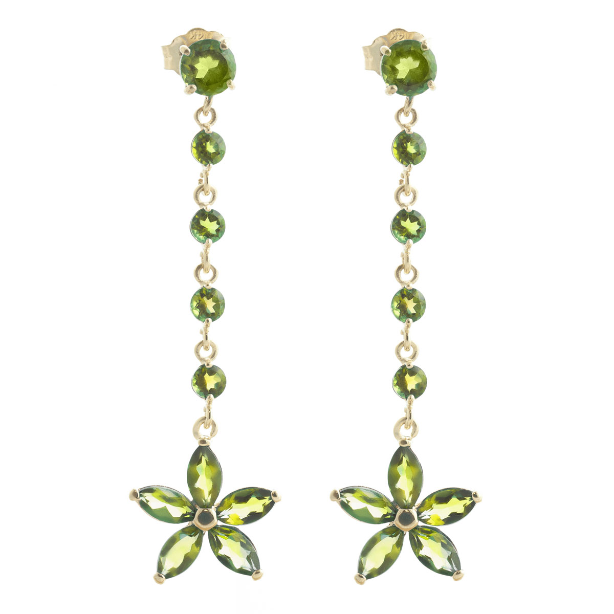 Peridot Daisy Chain Drop Earrings 4.8 ctw in 9ct Gold