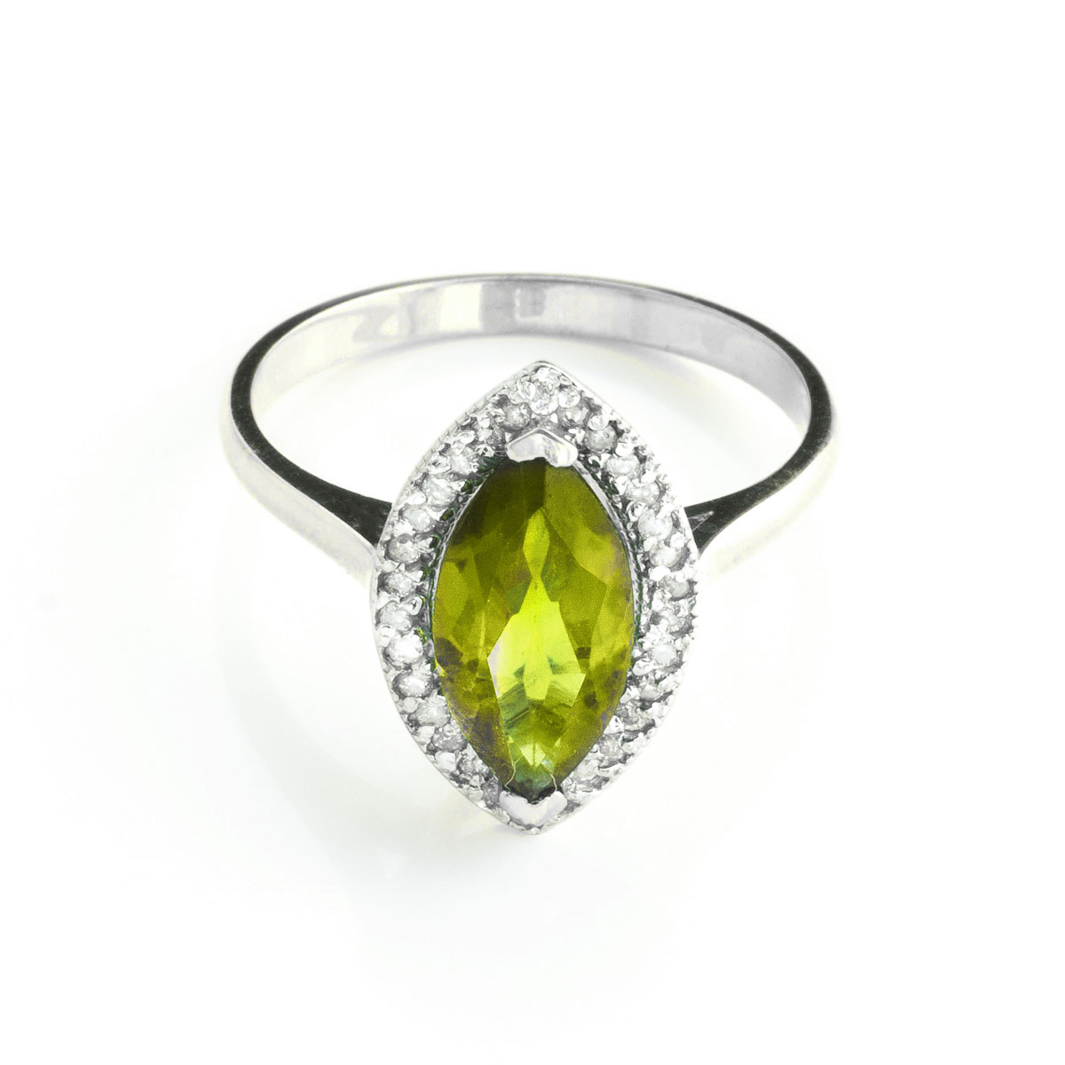 Peridot Halo Ring 2.15 ctw in 18ct White Gold