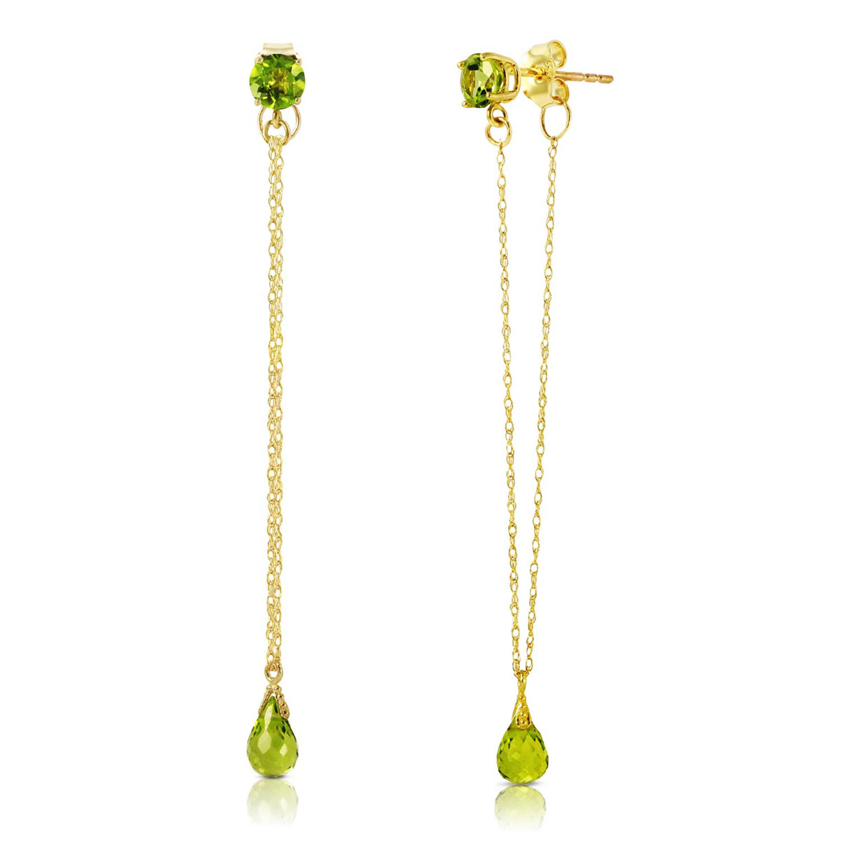 Peridot Monte Carlo Drop Earrings 3.15 ctw in 9ct Gold