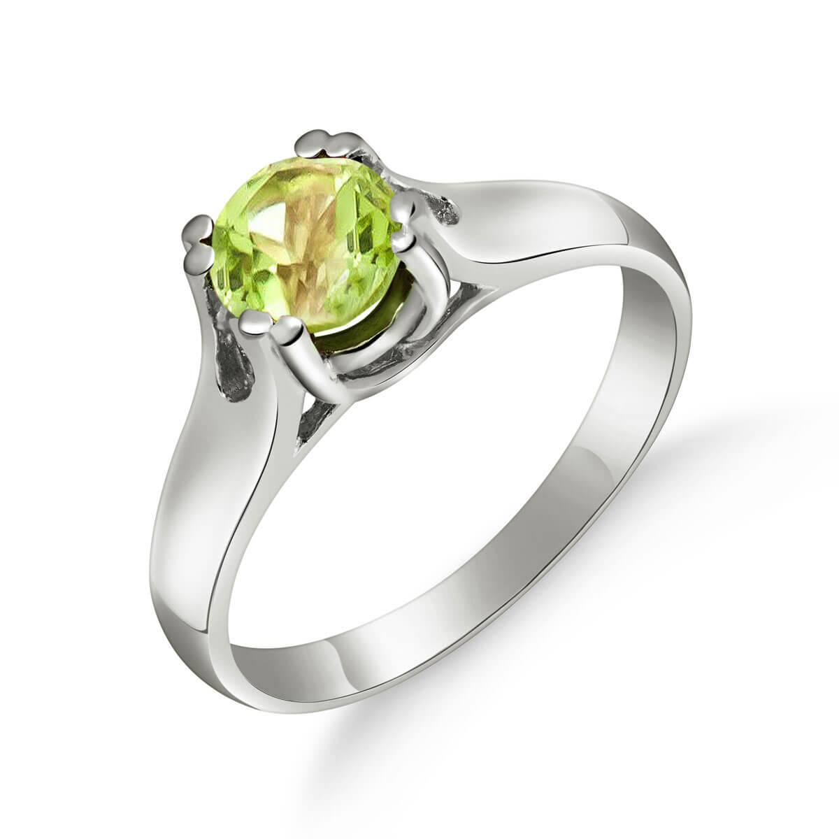 Peridot Solitaire Ring 1.1 ct in 18ct White Gold