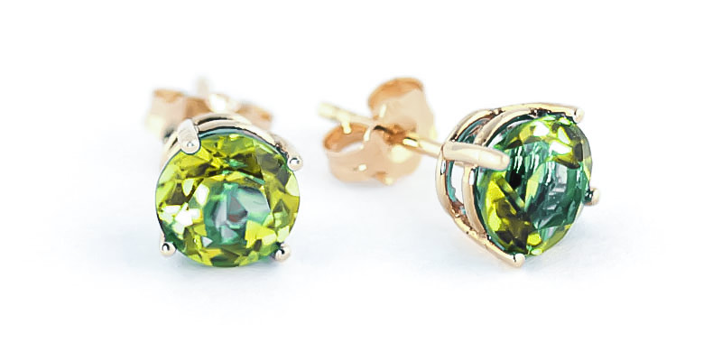 Peridot Stud Earrings 3.1 ctw in 9ct Gold