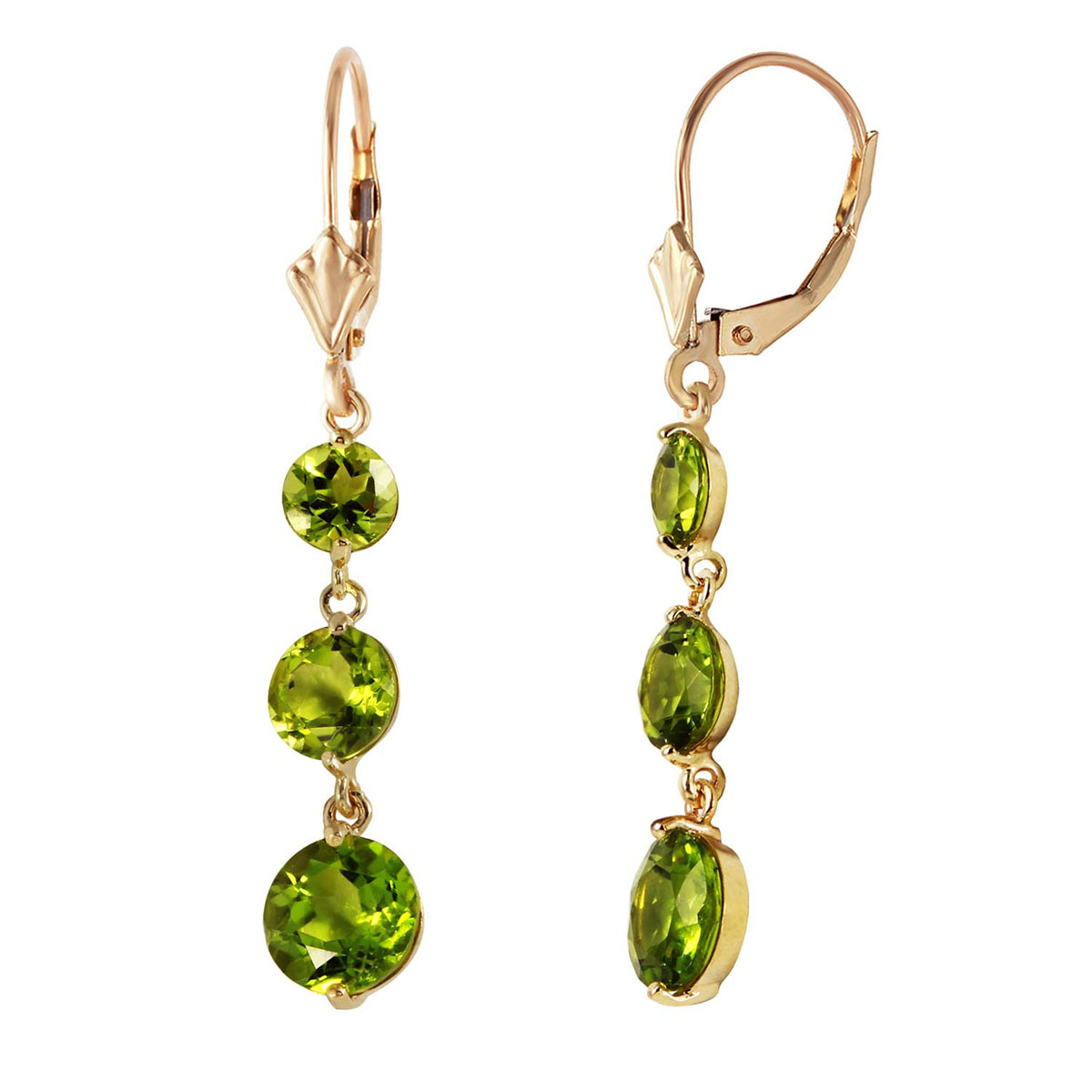 Peridot Trinity Drop Earrings 7.2 ctw in 9ct Gold