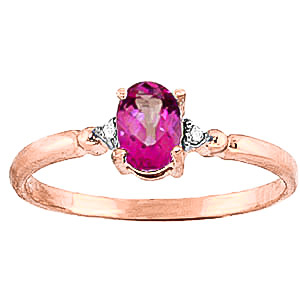 Pink Topaz & Diamond Allure Ring in 9ct Rose Gold