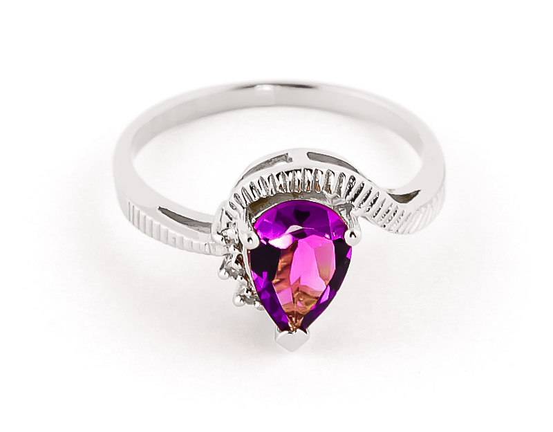 Pink Topaz & Diamond Belle Ring in 18ct White Gold