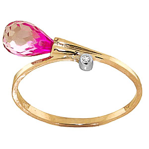 Pink Topaz & Diamond Droplet Ring in 9ct Gold