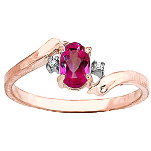 Pink Topaz & Diamond Embrace Ring in 9ct Rose Gold