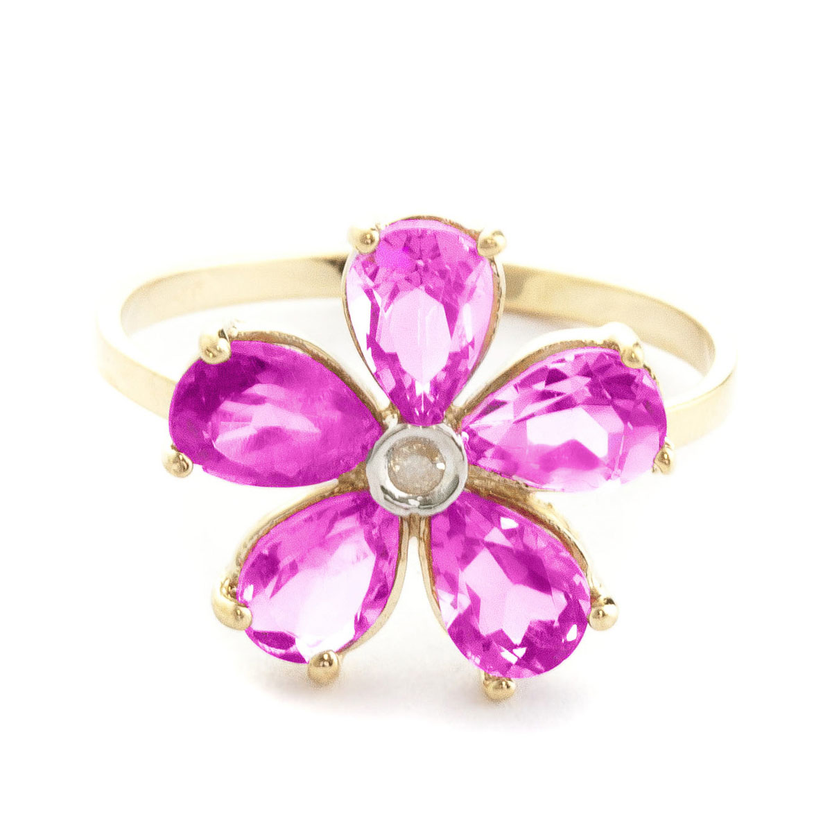 Pink Topaz & Diamond Five Petal Ring in 9ct Gold