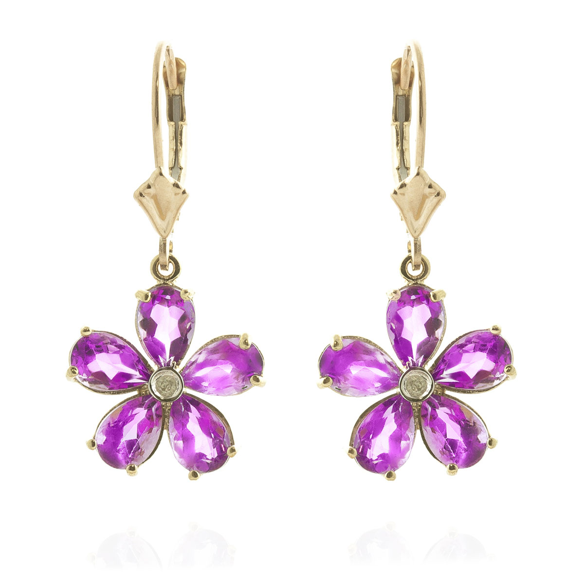 Pink Topaz & Diamond Flower Petal Drop Earrings in 9ct Gold