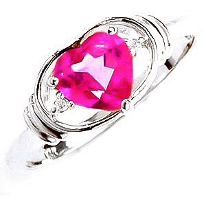 Pink Topaz & Diamond Halo Heart Ring in Sterling Silver