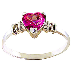 Pink Topaz & Diamond Heart Ring in 18ct Gold