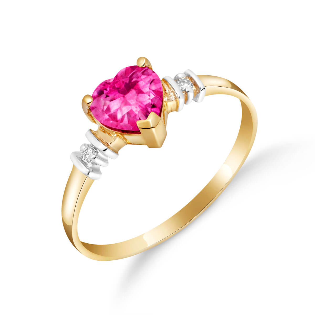 Pink Topaz & Diamond Heart Ring in 9ct Gold