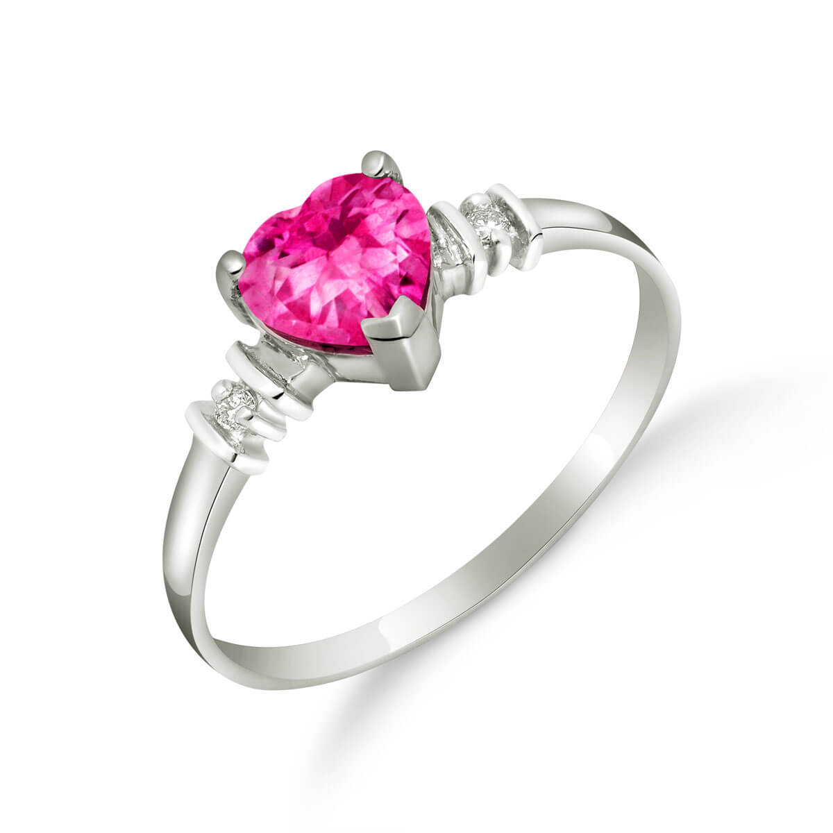 Pink Topaz & Diamond Heart Ring in 9ct White Gold