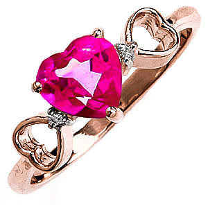 Pink Topaz & Diamond Trinity Ring in 9ct Rose Gold