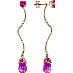 Pink Topaz Lure Drop Earrings 6.8 ctw in 9ct Gold