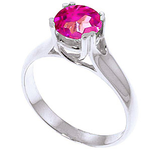 Pink Topaz Solitaire Ring 1.1 ct in 18ct White Gold