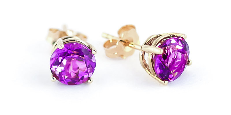 Pink Topaz Stud Earrings 3.1 ctw in 9ct Gold