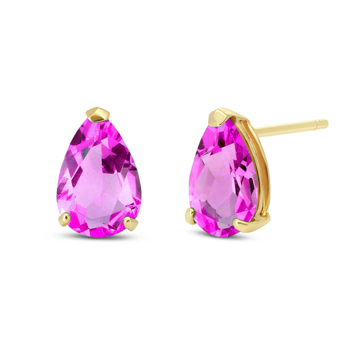 Pink Topaz Stud Earrings 3.15 ctw in 9ct Gold