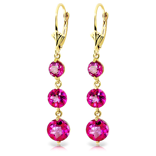Pink Topaz Trinity Drop Earrings 7.2 ctw in 9ct Gold