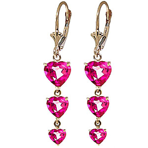 Pink Topaz Triple Heart Drop Earrings 6 ctw in 9ct Gold