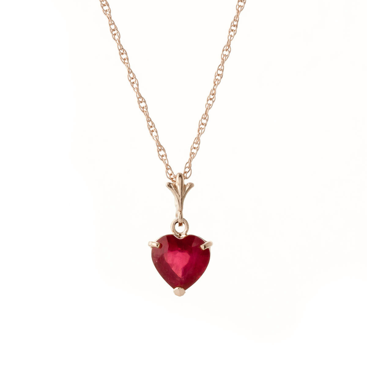 Ruby Heart Pendant Necklace 1.45ct in 9ct Rose Gold