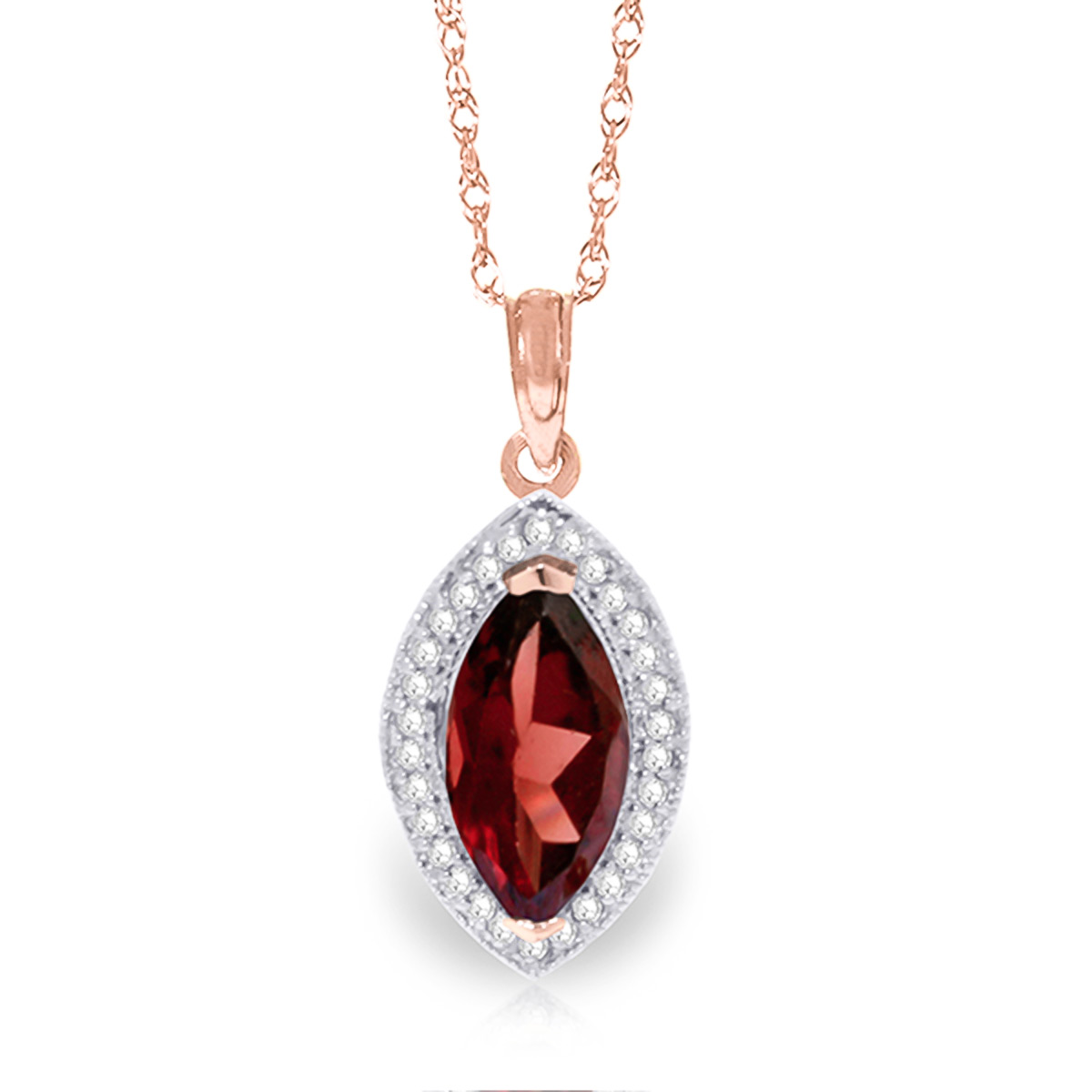 Garnet and Diamond Halo Pendant Necklace 2.0ct in 9ct Rose Gold