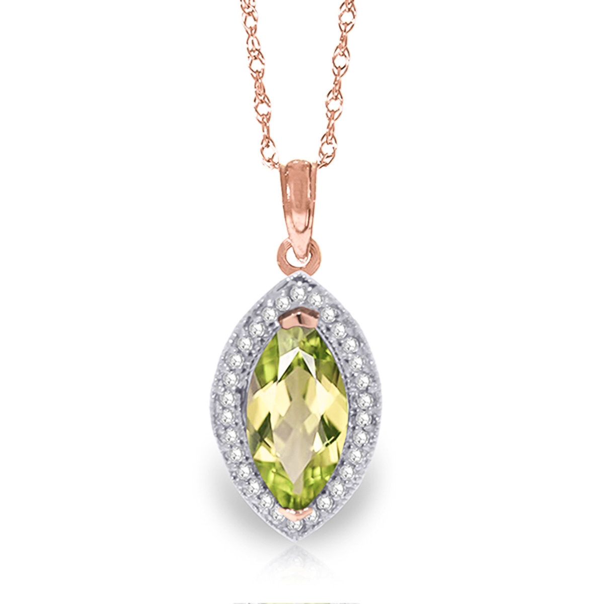 Peridot and Diamond Halo Pendant Necklace 2.0ct in 9ct Rose Gold
