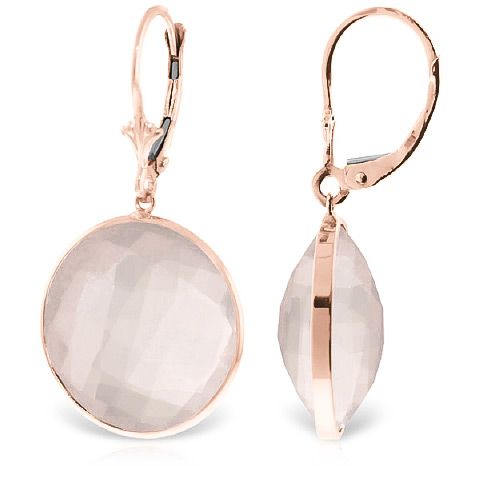Rose Quartz Drop Earrings 34 ctw in 9ct Rose Gold