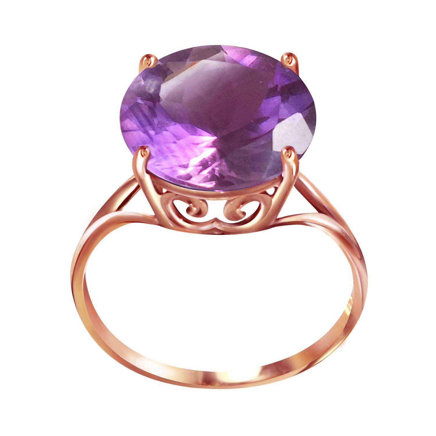 Round Cut Amethyst Ring 5.5 ct in 9ct Rose Gold