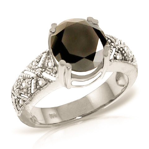 Round Cut Black Diamond Ring 3.7 ctw in Sterling Silver