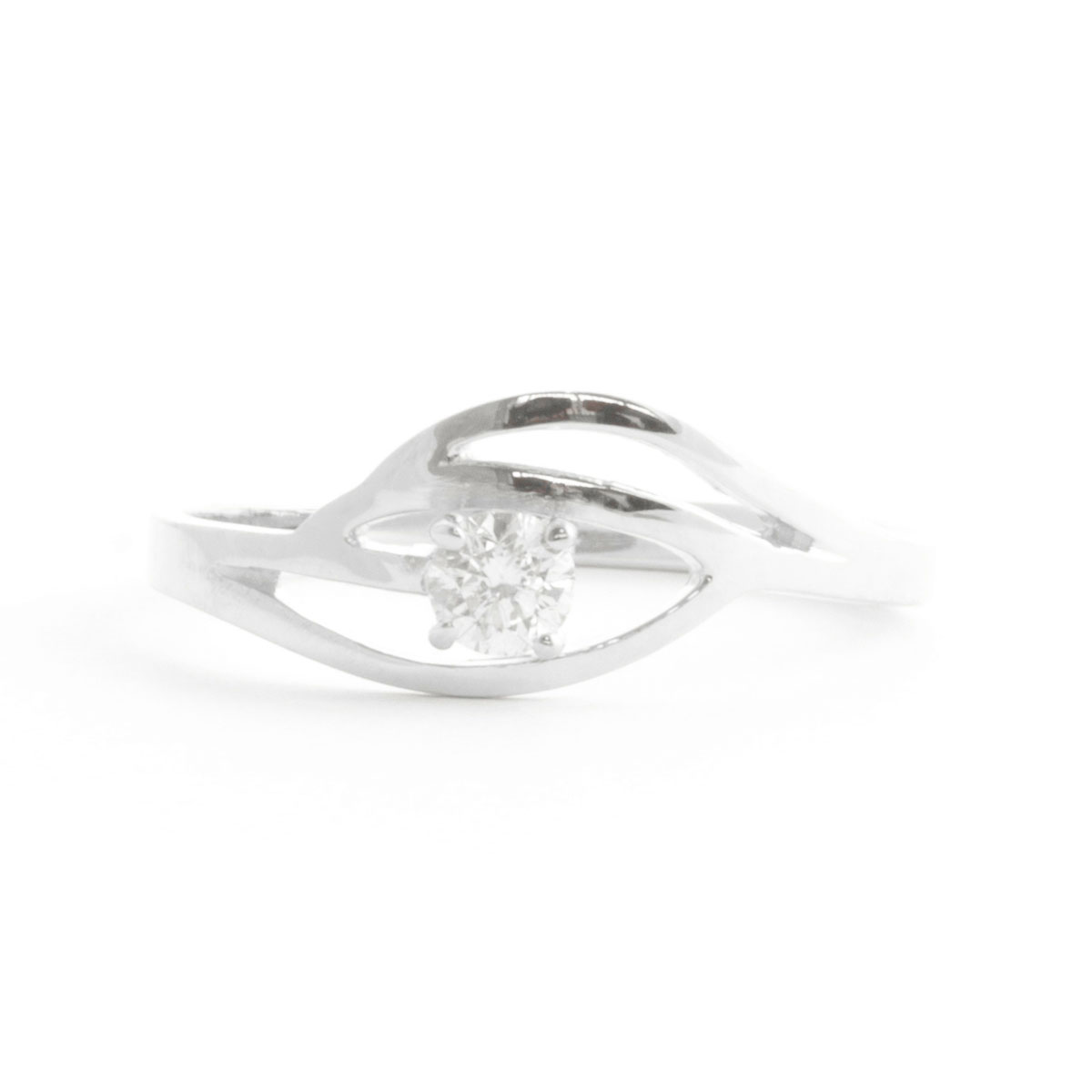 Round Cut Diamond Ring 0.15 ct in 18ct White Gold