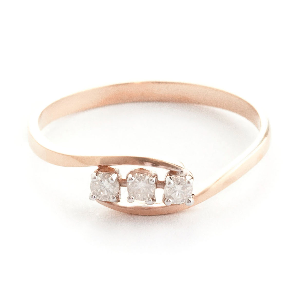 Round Cut Diamond Ring 0.15 ctw in 18ct Rose Gold