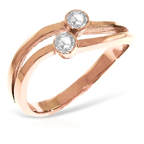 Round Cut Diamond Ring 0.2 ctw in 9ct Rose Gold