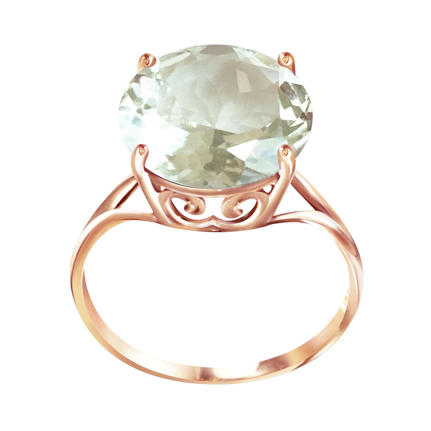 Round Cut Green Amethyst Ring 5.5 ct in 9ct Rose Gold