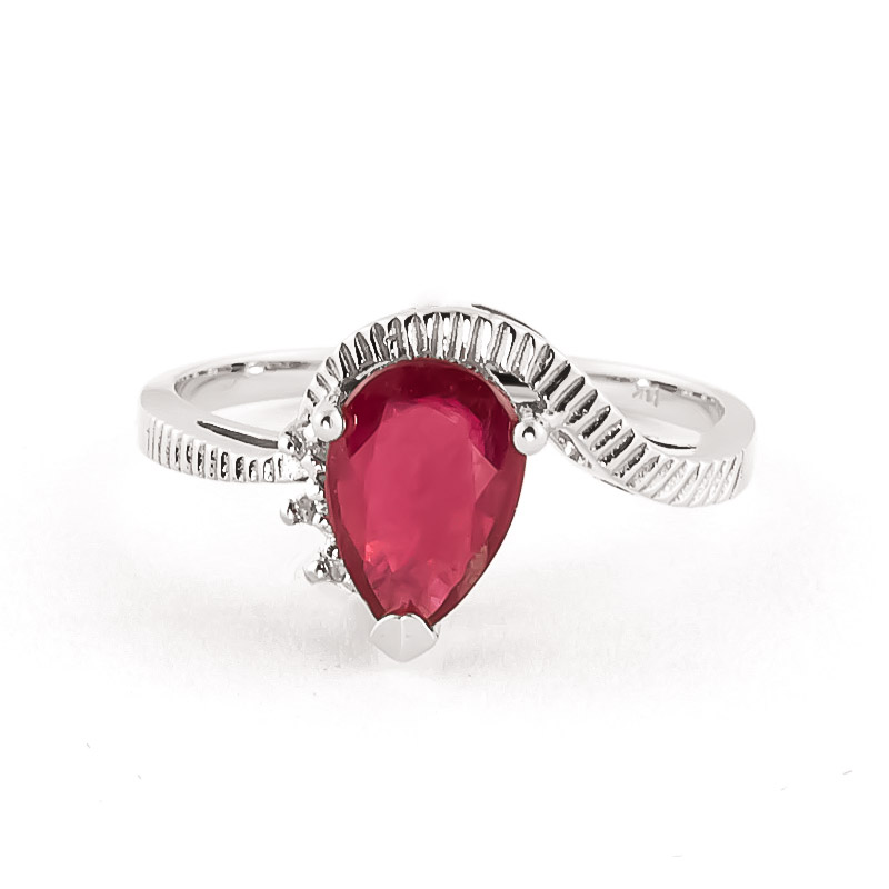 Ruby & Diamond Belle Ring in 18ct White Gold