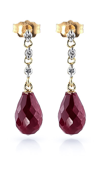 Ruby & Diamond Chain Droplet Earrings in 9ct Gold