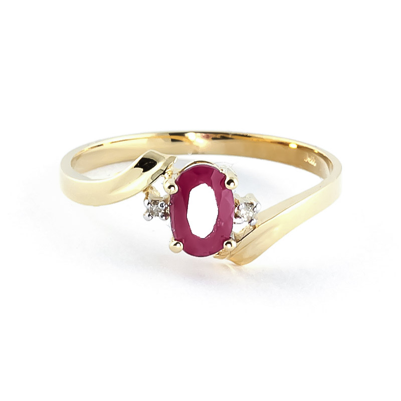 Ruby & Diamond Embrace Ring in 9ct Gold