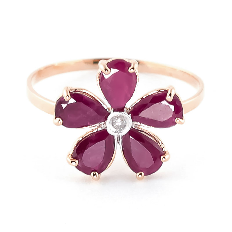 Ruby & Diamond Five Petal Ring in 9ct Rose Gold